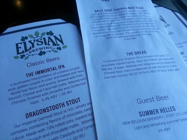 Elysian Brewing Co Dread menu Capital Hill Seattle WA Simple Palates Seriously